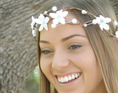 white flower crown on Etsy, a global handmade and vintage marketplace.