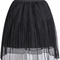 Sheer mesh pleated skirt