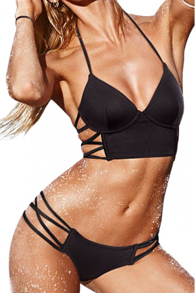 KCLOTH Lattice Halter Top Sheer Black Bikini