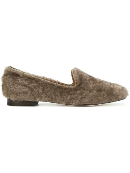 Agnona fur women loafers leather brown shoes