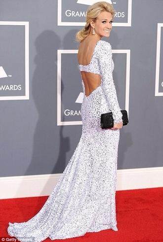 dress carrie underwood white dress prom dress sparkling dress glitter dress