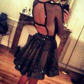 dress,black dress,backless,glitter dress,glitter,long sleeves,mesh,black,sequin dress,hot,skirt,cutout back,cut-out