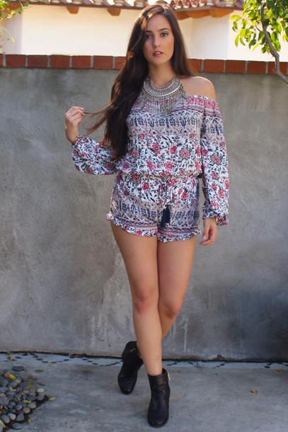 romper off shoulder romper jumpsuit romper style fashion bohemian boho off the shoulder off shoulder jumpsuits floral ruffle long sleeves jewelry boots tassel cute indie summer outfits spring outfits festival coachella outfit