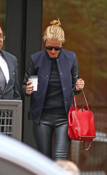gwyneth paltrow jacket top pants fall outfits bag sunglasses
