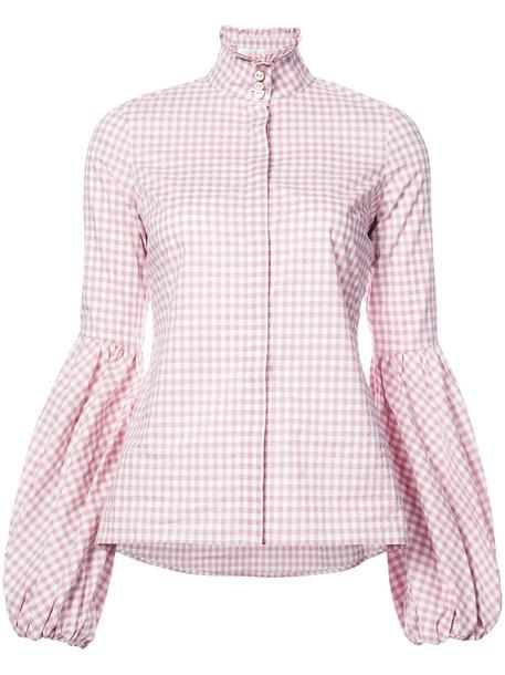 Caroline Constas shirt checkered shirt women cotton purple pink checkered top