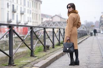 onto my wardrobe blogger sunglasses camel coat black bag