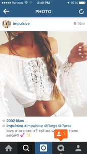 top,t-shirt,blouse,cute,clothes,shirt,crop tops,cropped,lace top,lace,white,hipster,summer top,cute top