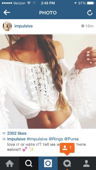 top t-shirt blouse cute clothes shirt crop tops cropped lace top lace