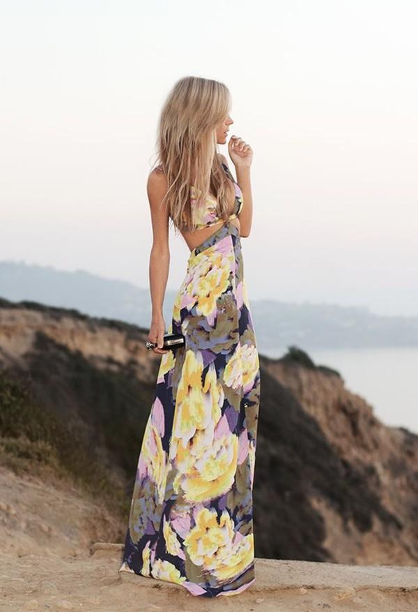 dress maxi dress floral floral dress long dress cut-out dress