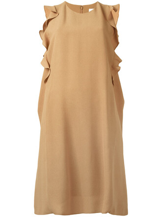 dress sleeveless ruffle women nude