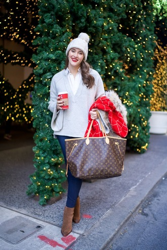 covering bases curvy blogger coat sweater jeans shoes hat bag beanie louis vuitton bag louis vuitton grey sweater red coat winter outfits christmas ankle boots brown boots brown bag skinny jeans