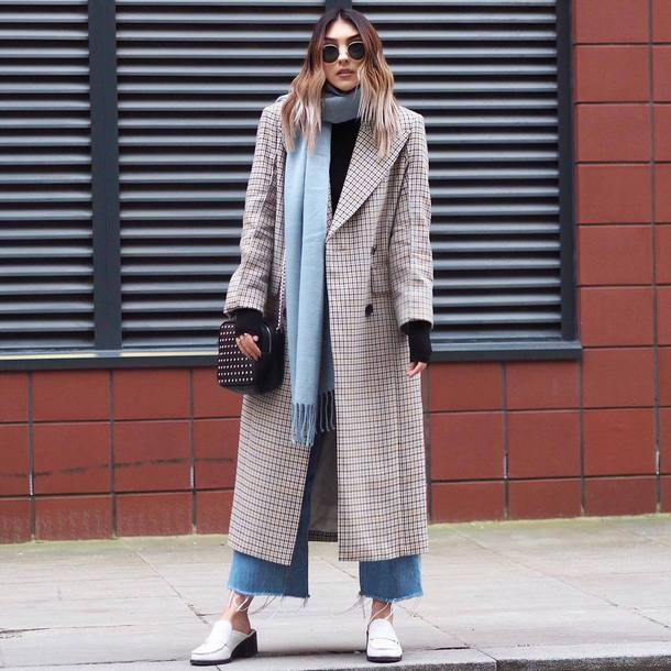 coat tumblr grey coat long coat scarf denim jeans blue jeans shoes white shoes bag sunglasses