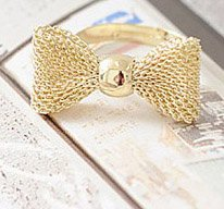 2014 New Fashion Korean jewelry gold mesh grid bow adjustable ring(Gold) R255-in Rings from Jewelry on Aliexpress.com