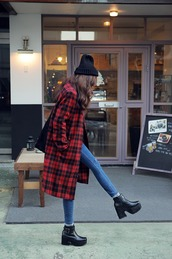 coat,pattern coat,winter outfits,fashion,tumblr,jeans,masculine coat,winter look,shoes,outfit,haute couture,streetstyle,red,black,plaid,grunge,streetwear,urban,alternative,outerwear,jacket,flannel,warm,plaid jacket,black beanie,black shoes,long,parka,fall outfits,skinny,blue jeans,ankle boots rivet,platform shoes,flannel shirt,tumblr outfit,platforms boots,printed long coat,chelsea boots,long coat