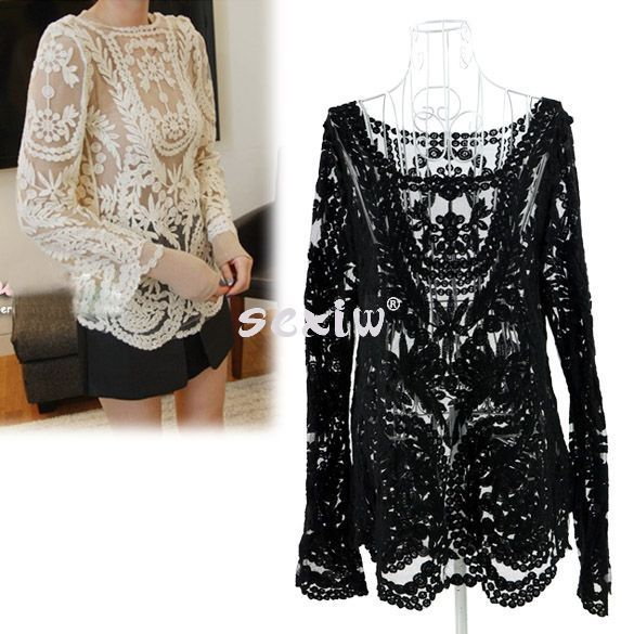Damen Sexy Semi Sheer Sleeve Stickerei Lace Floral Crochet-T-Shirt T-Shirt Top | eBay