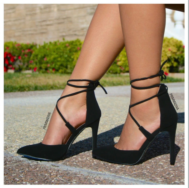 c38f4c307fba BLACK NUBUCK LACE UP HIGH HEELS POINTED POINTY TOE ...