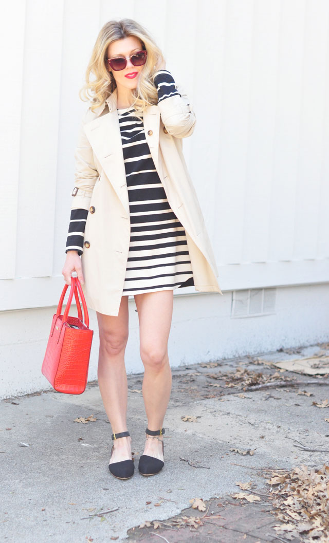 Springtime Classics | Black, White, Red, Topped with a Trench | ...love Maegan