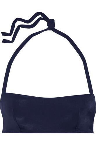 bikini bikini top bandeau bikini navy swimwear