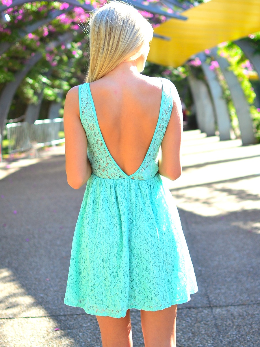 Mint sleeveless floral lace skater