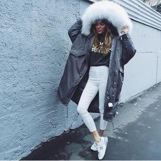 jacket winter coat coat grey white fur fur fluffy hooded coat white fluffy hood fashion style long coat