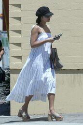 dress,midi dress,summer dress,summer,platform sandals,vanessa hudgens,streetstyle