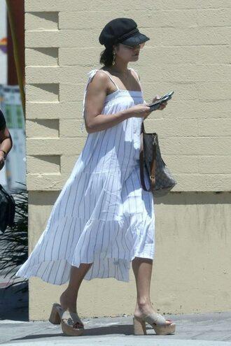 dress midi dress summer dress summer platform sandals vanessa hudgens streetstyle