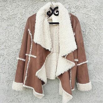 jacket coat shearling jacket brown brown coat brown jacket