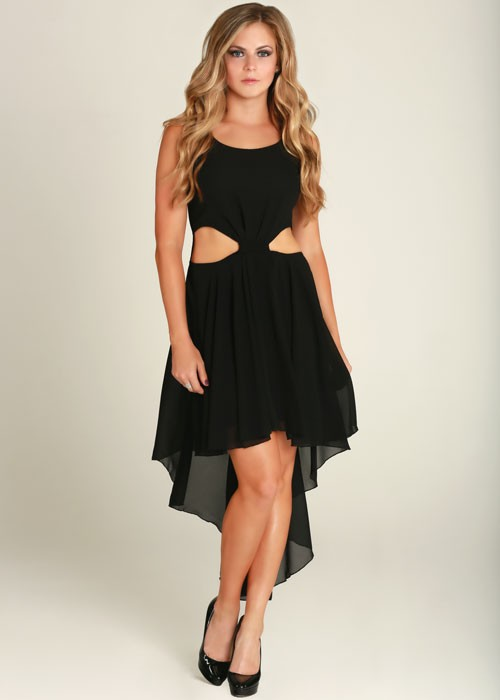 Black Side Cutout High Low Chiffon Dress