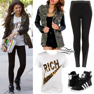 shoes adidas shoes pants coat t-shirt jacket shirt zendaya camo jacket