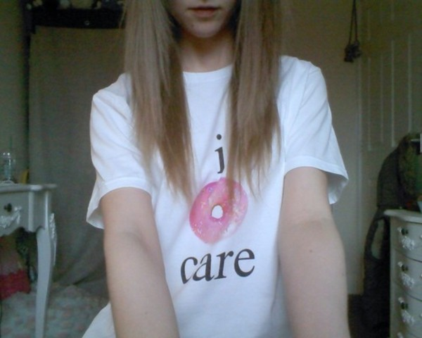 shirt donut tumblr image pink white t-shirt cute funny quote on it i donut care jumpsuit