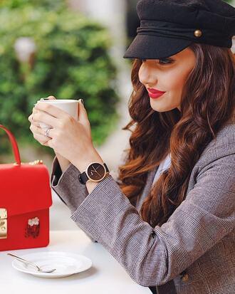 blazer grey blazer watch black watch handbag red handbag jacket jewels bag