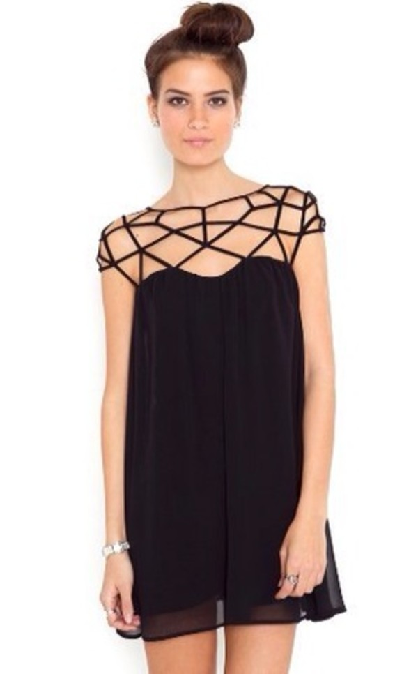 dress black net beautiful chiffon mash black dress cute dress straps