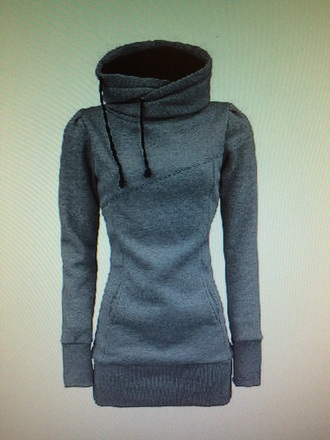 top grey hoody long fitted