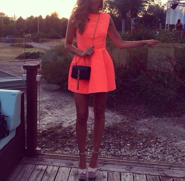 orange bag yves saint laurent shoes heels high heels platform shoes open toes nude beige summer pink dress party dress short dress mini dress kenza kenza