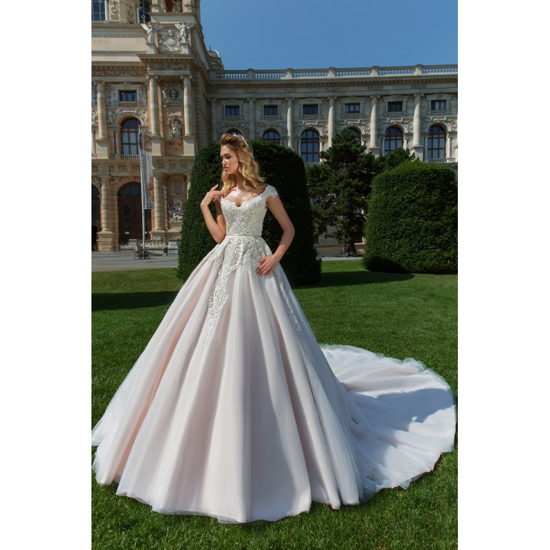 Crystal Design 2018 Anika Tulle Royal Train Beading Ball Gown Sweet Pink V-Neck Cap Sleeves Wedding Gown - Bridesmaid Dress Online Shop