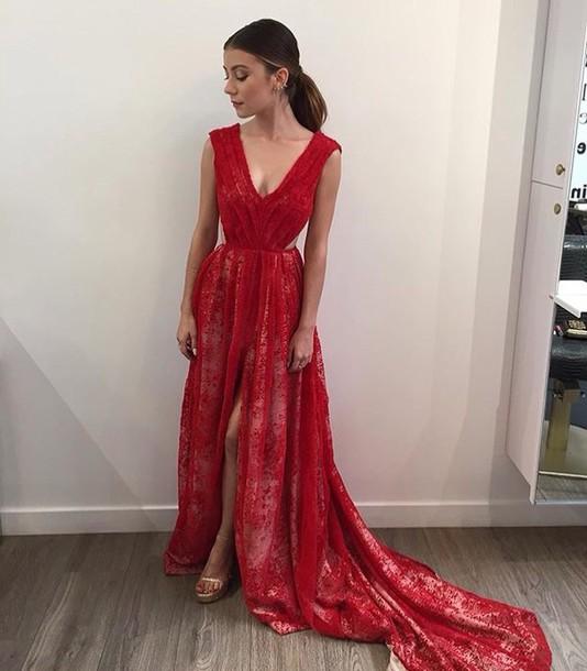 dress, emmy, emmys, emmys 2015, emmys 2015, red, red dress, ball ...