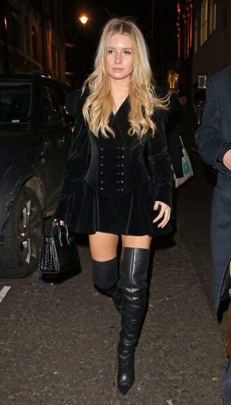 dress mini dress velvet dress velvet black velvet dress model off-duty fall outfits lottie moss