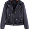 Black lapel zipper crop pu jacket -shein(sheinside)