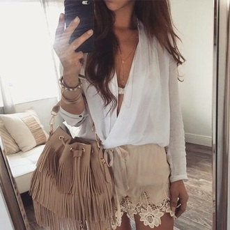 shorts lace beige summer style bag t-shirt