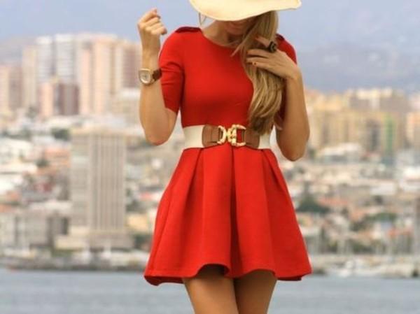 KrispBASIC 3 4 Length Sleeve Belted Red Skater Dress - KrispBASIC ... 1285609f2