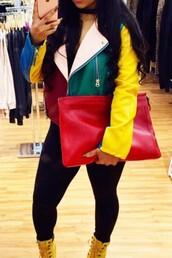 jacket,colorblock,multicolor