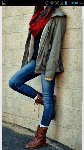 jacket fall outfits scarf boots combat boots jeans denim jacket denim vest gorgeous cheap stylish style shoes back to school khaki