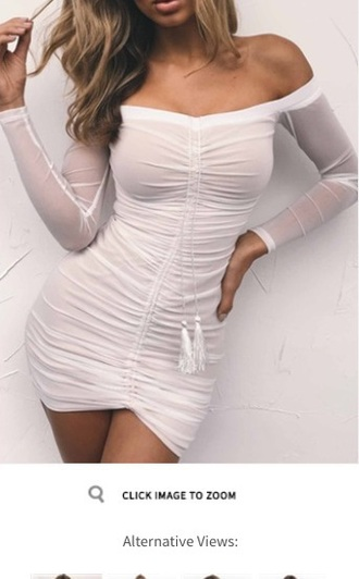 dress white white dress ruched dress off the shoulder bodycon dress bodycon