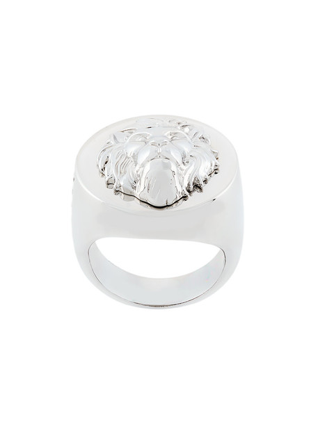 Versus metal lion women ring grey metallic jewels