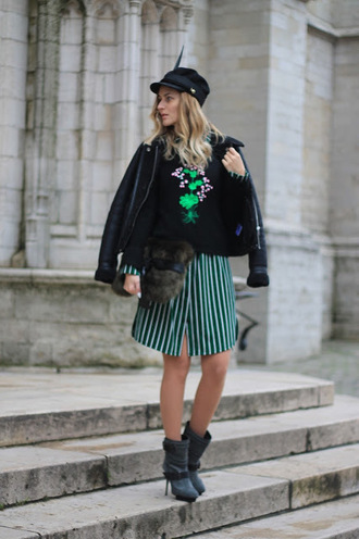 from brussels with love blogger sweater shirt shoes jacket bag hat furry pouch fisherman cap boots winter outfits