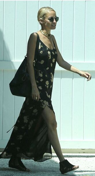 dress maxi dress nicole richie summer dress necklace gold choker floral maxi dress