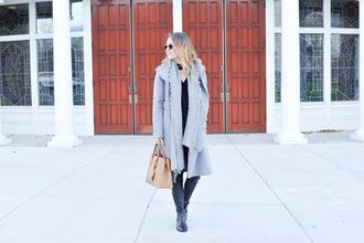 ohsoglam blogger sweater pants shoes scarf bag sunglasses blue coat fall outfits winter outfits nude bag handbag