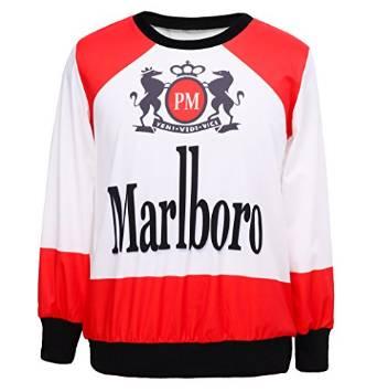 Alralel Women Digital Print Round Neck Pullover Tops Sweatershirt T Shirt Free Size Marlboro White: Amazon.co.uk: Clothing