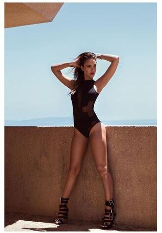 swimwear one piece swimsuit black swimwear sandals editorial summer jessica alba