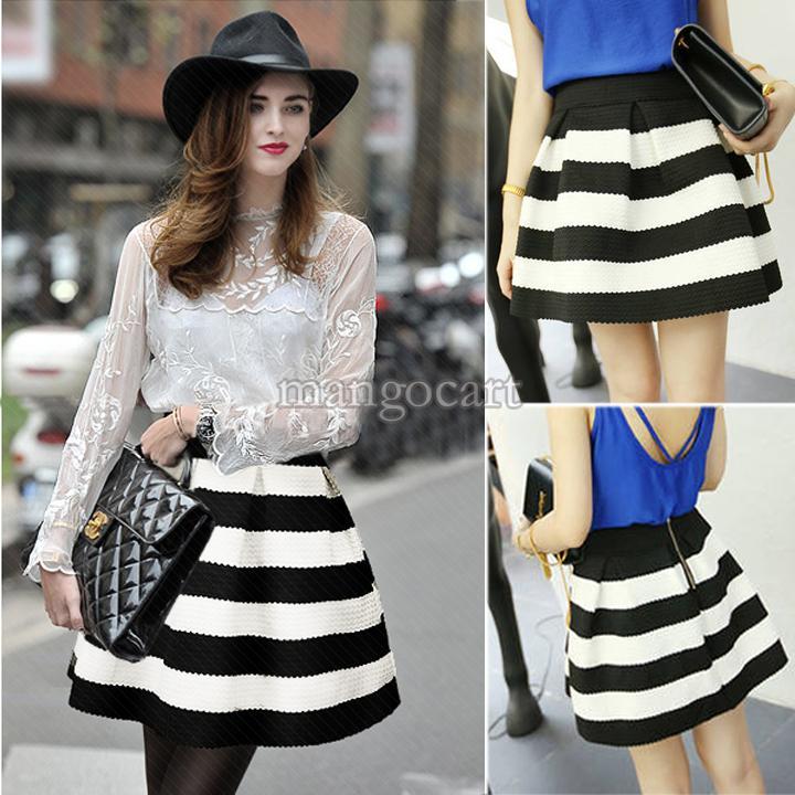 Black And White High Waisted Skirt - Dress Ala